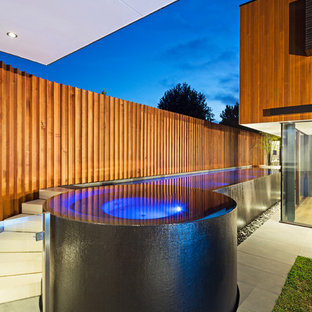 Hot tub - contemporary rectangular aboveground hot tub idea in Melbourne