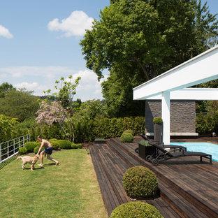 Modernes Sportbecken hinter dem Haus in rechteckiger Form mit Dielen in Stuttgart