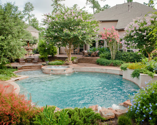Backyard pool landscaping ideas houzz for Pool garden ideas