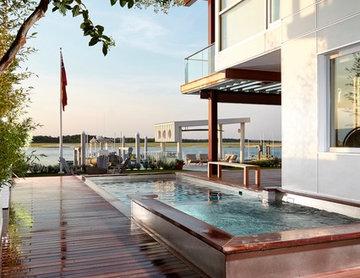 Modern Coastal Stainless Steel Pool and Spa