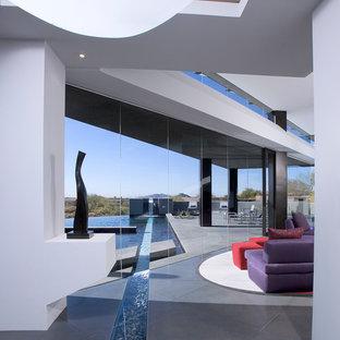 Idee per una grande piscina a sfioro infinito moderna personalizzata dietro casa con lastre di cemento