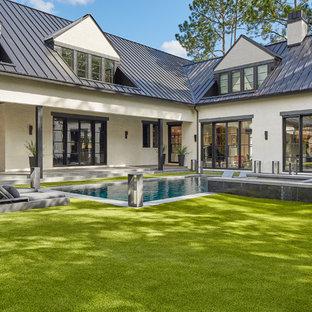 Pool - farmhouse pool idea in Houston