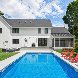 Inspiration for a country rectangular pool remodel in Chicago