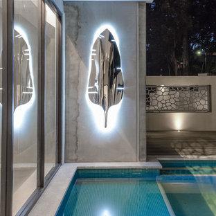 Diseño de piscina natural, industrial, de tamaño medio, a medida, en patio, con entablado