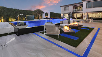Modern Infinity Pool, Elevated Spa, Outdoor Kitchen, and Unique Fire Structure