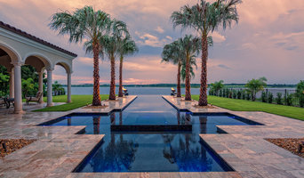 Modern/Mediterranean Infinity Pool and Traditional Pavillion with Bay View