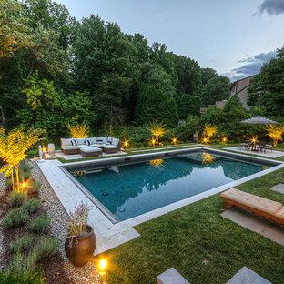 Asian backyard rectangular pool photo in Wilmington