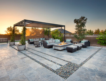 Modern Pergola with Concrete Fire Feature - Pool with Perimeter Overflow Spa