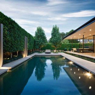 Imagen de piscina minimalista, grande, rectangular, en patio trasero, con suelo de hormigón estampado