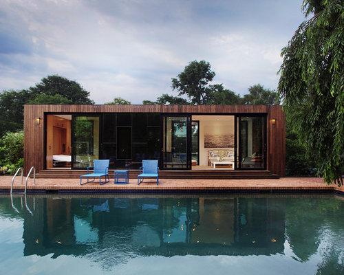 minimalist brick pool house photo in new york - Deckideen Nz
