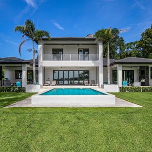 Inspiration For A Large Modern Backyard Stone And Rectangular Lap Pool  Remodel In Tampa