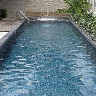 Modern pool with custom glass mosaic mix