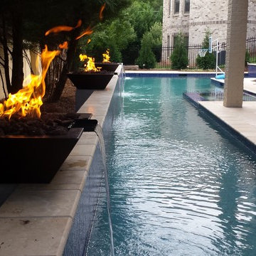 Modern Pool with Outdoor Living Area