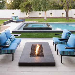 Modern Transitional Lap Pool and Glass Tile Spa - Scottsdale, Arcadia