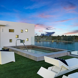 Example Of A Minimalist Backyard Rectangular Lap Pool Design In Miami