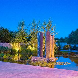 Modelo de piscina natural, de estilo zen, grande, a medida, en patio, con adoquines de hormigón