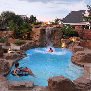 Example of a mountain style natural water slide design in New Orleans