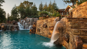 Mountain Mine-Themed Pool With Waterfalls, Slide and More