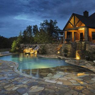 Multi-Level Patios, Waterfalls & Pool Utilizing The Native Oklahoma Terrain