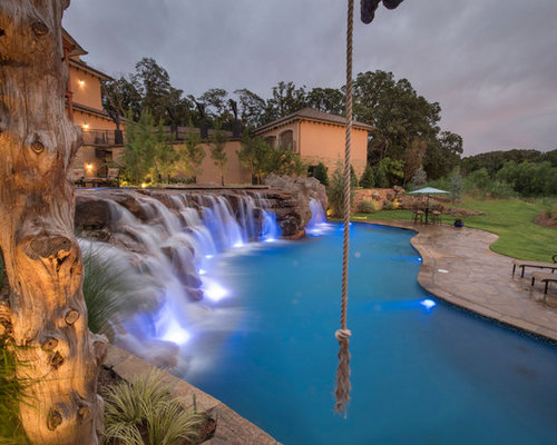 Multi Level Pool With Rope Swing Sunken Fire Pit