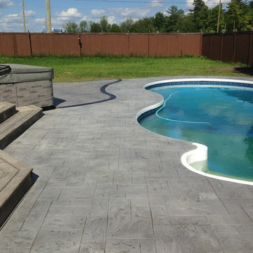 Multi-Pattern Stamped Concrete Pool Deck