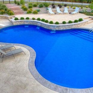 Diseño de piscina con fuente alargada, tradicional renovada, de tamaño medio, a medida, en patio trasero, con adoquines de hormigón