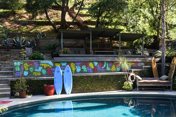Eclectic Swimming Pool & Hot Tub by STRUKTR Studios Photography