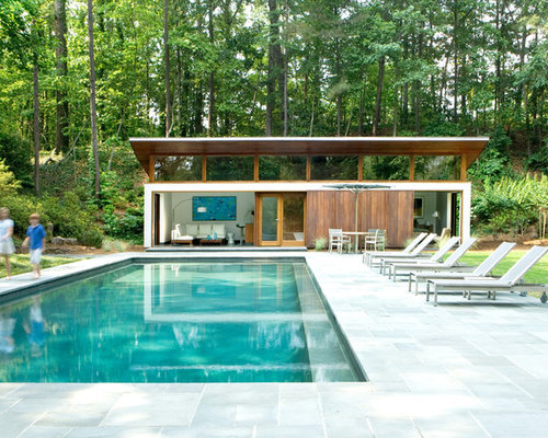 Large Minimalist Backyard Rectangular And Stone Natural Pool House Photo In  Atlanta