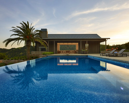 Example Of An Expansive Country Backyard Rectangular Infinity Pool House  Design In San Francisco With Natural