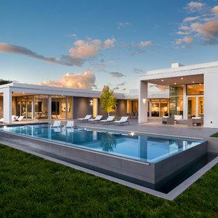 Modelo de piscina elevada, actual, rectangular, en patio trasero