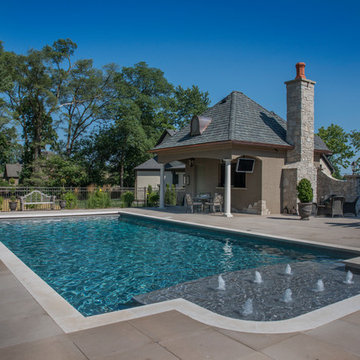 Naperville, IL Swimming Pool With Offset Sunshelf