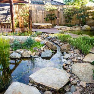 Esempio di una piscina naturale personalizzata dietro casa e di medie dimensioni con pedane e paesaggistica bordo piscina
