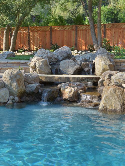 example of a huge tuscan backyard stone pool fountain design in san francisco