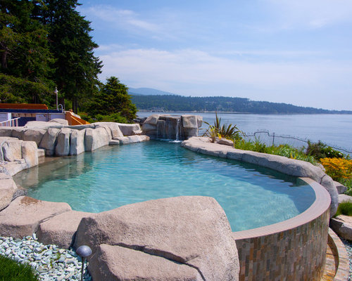 Infinity pool design ideas renovations photos with gravel for Pool design vancouver