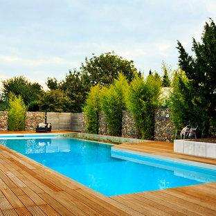 Diseño de piscina actual, grande, rectangular