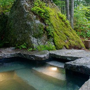 Diseño de piscinas y jacuzzis naturales, rústicos, de tamaño medio, a medida, en patio trasero, con adoquines de piedra natural