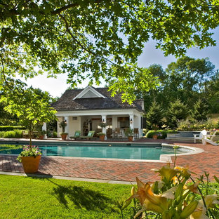 Example of a farmhouse pool design in New York