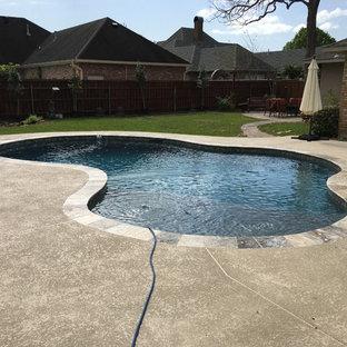 Imagen de piscina con fuente natural, contemporánea, pequeña, a medida, en patio trasero, con entablado