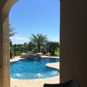 New Gunite Swimming Pool with Raised Spillover Spa