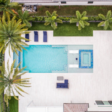 New Infinity Edge Swimming Pool & Spa With Custom Water Bowls