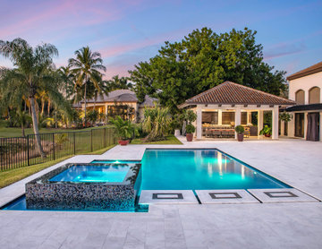 New Pool & Spa with Custom Stepping Stones in Weston