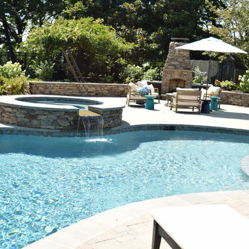 New Pool, Fireplace, retaining walls, Deck plantings