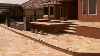 New Pool with Travertine deck & coping and double retaining wall