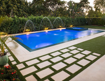 New Straightline Pool with Custom Spa and Custom Landscaping in Miami, Florida