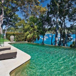Modelo de piscina infinita, moderna, grande, a medida, en patio trasero, con adoquines de piedra natural