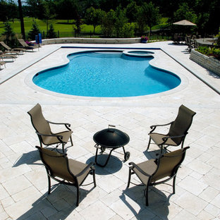 North Barrington, IL Freeform Pool and Spa with Picture Frame Automatic Cover