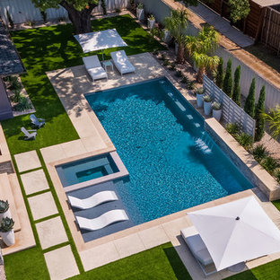 This is an example of a medium sized modern back rectangular swimming pool in Dallas with a hot tub.