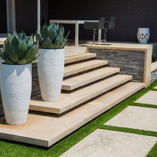 Mid-sized modern backyard rectangular pool in Dallas with a hot tub.