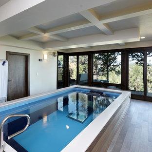 Modelo de piscinas y jacuzzis elevados, de estilo americano, grandes, interiores y rectangulares