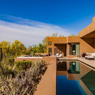 Pool Southwestern Backyard Custom Shaped And Tile Lap Idea In Phoenix